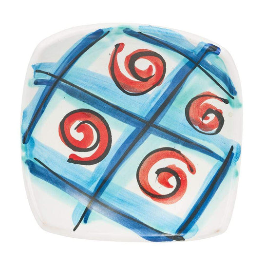 Small Square Dish 10cm by Sol'Art in Blue with Red Spirals