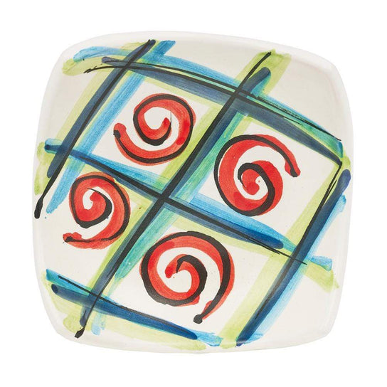 Small Square Dish 10cm by Sol'Art in Green and Blue with Red Spirals