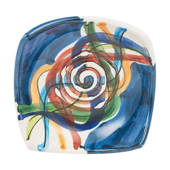Small Square Dish 10cm by Sol'Art in Dark Blue with Orange Spiral