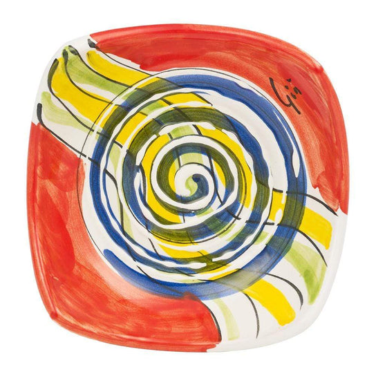 Small Square Dish 10cm by Sol'Art in Red with Large Blue Spiral