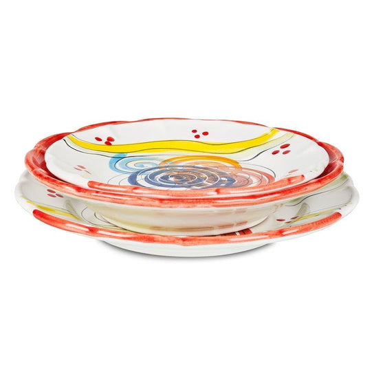 Vietri Place Setting with Bowl, Plate and Side Plate by Sol'Art: Tomato Red