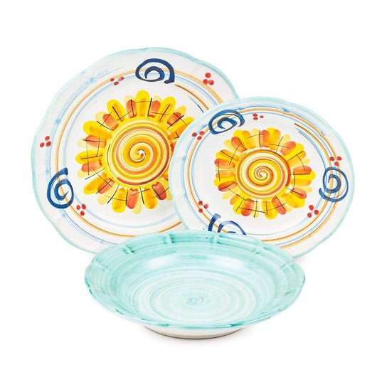 Vietri Place Setting with Bowl, Plate and Side Plate by Sol'Art: Vietri Green
