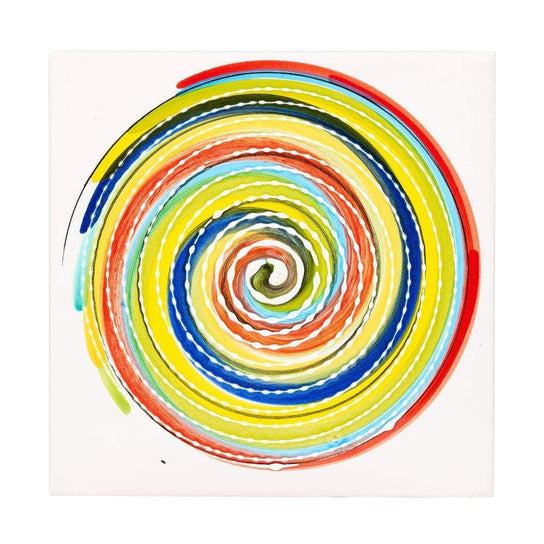 Ceramic Tile 20cm by Sol'Art with Coloured Spiral