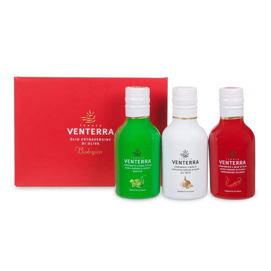 Basil, Garlic and Chilli Oil Gift Set 250ml x 3 by Tenuta Venterra