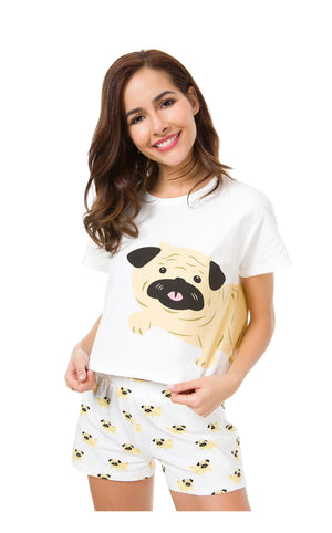 Cute Dog Pajama Set Women Pug Print 2 Pieces Set Crop Top + Shorts