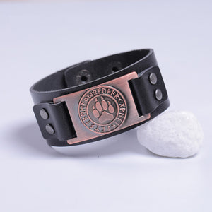 NEW Hot Genuine Leather and Metal Wristbands Viking Odin Symbol