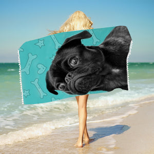 3D Black Pug Woman Beach / Bath Towel