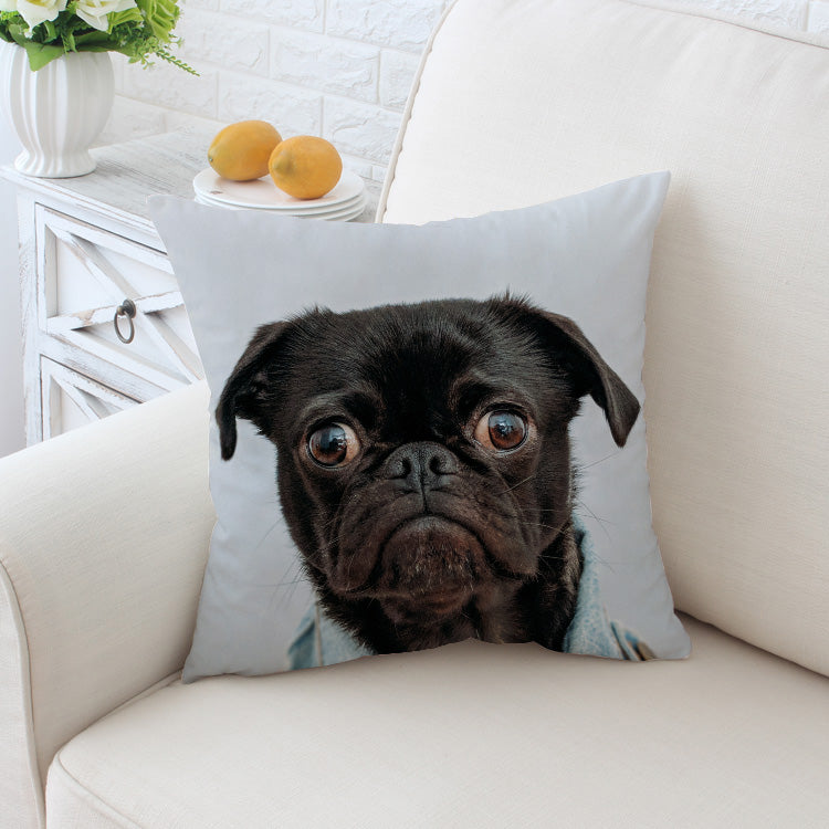 Black Pug Cushion Cover Animal Pillow Case For Kids Throw Cover Home Decor Pillow Covers