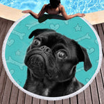Bedding Hipster Pug Tassel Tapestry Cartoon Round Beach Towel Sunblock Yoga Blanket