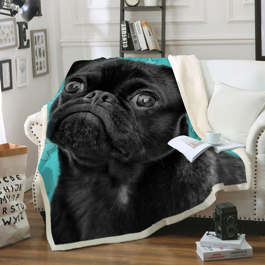 Black Pug Throw Blanket Animal Home Decor Bedding