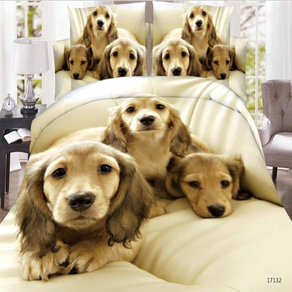 4PCS 3D DOG Bedding Set Duvet Cover Queen Size