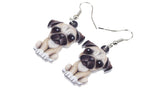SET Of Sweet Sitting Acrylic Pug Dog
