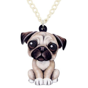 SET Of Sweet Sitting Acrylic Pug Dog Necklace+Long Dangle Earrings SET + Free Keychain