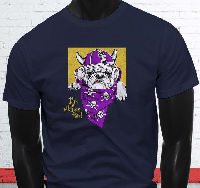 Vikings Pug Dog Men's T-shirt Short Sleeves Cotton
