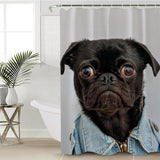 Black Pug Shower Curtain Watercolor Dog Polyester Waterproof With Hooks