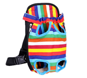 Pet Small Dog Backpack Carrier / Front Bag Rainbow Color