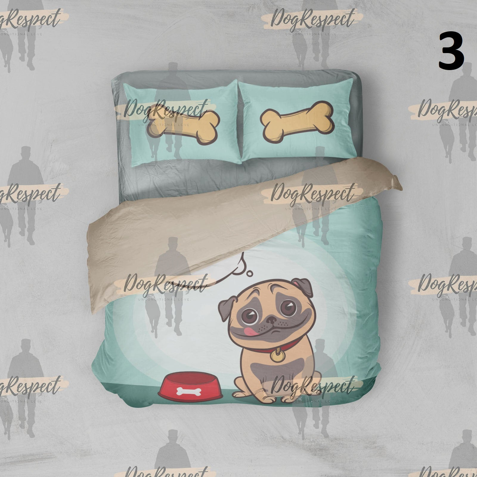 Black Pug 3d Furry Arctic Doggies Bedding Set Duvet Cover - 3 Sizes