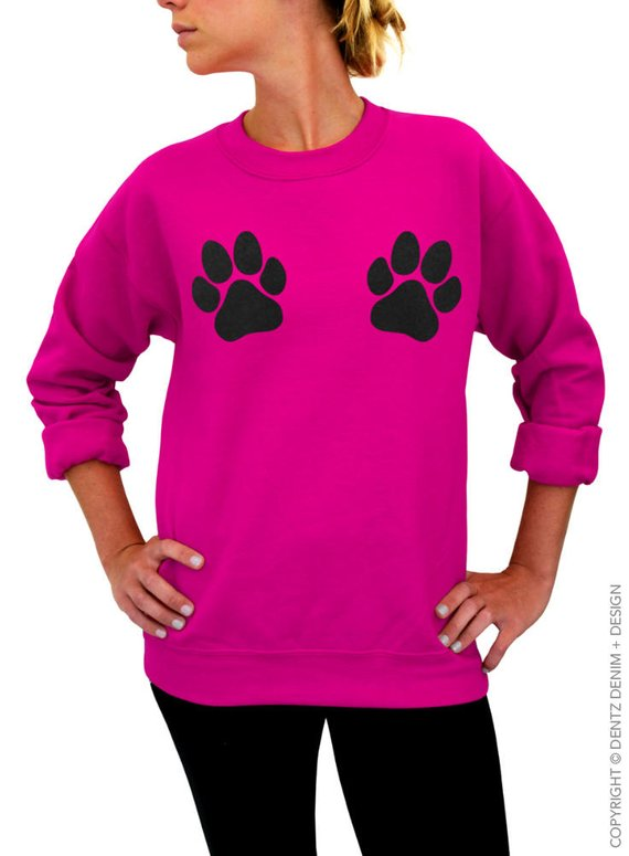 Dog Sweatshirt Paw Print Made In USA