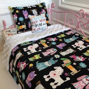 "18"" 3pcs Doll Bedding Set Dogs"