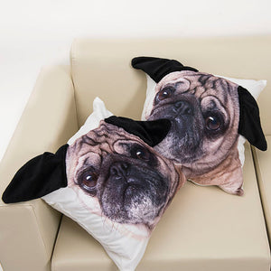 3D Ear Cute Pug Dog Pillow Case 45x45cm