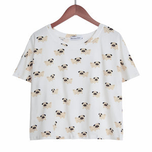Women's Cute Pug Dog Cartoon Print Pajama Crop Top