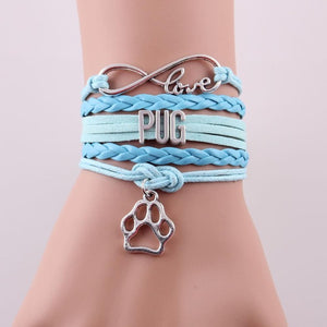 Love PUG Dog Leather Wrap Bracelet 1+1 Free To Your Granddaughter
