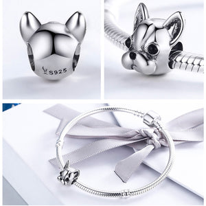 925 Sterling Silver English French Bulldog Lovely Dog, Beads Charms Fit Original Bead Bracelets & Necklaces