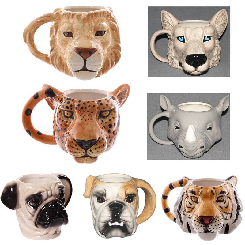 Puppy Dog Head Tea Coffee Cups Animal Ceramic-Cup British Bulldog-Cups 3D Pug Head Coffee Milk Cups Cute Pet Drinking Gift