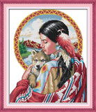DIY Indian Girl and Dog On Canvas