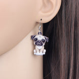 Acrylic Cartoon Pug Dog Big Long Dangle Earrings