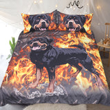 Rottweiler Bedding Set 3D Printed Duvet Cover Fire Dog Bed Set