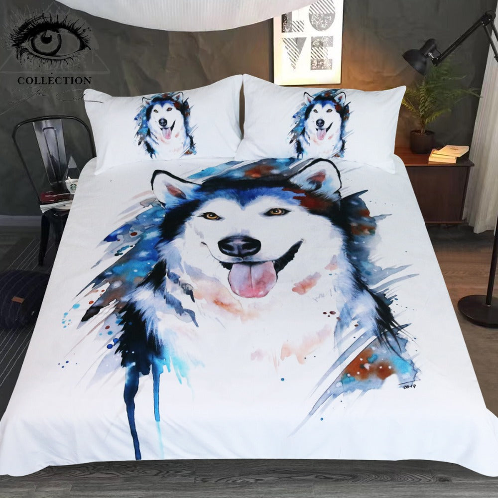 Husky by Pixie Cold Art Bedding Set Printed Duvet Cover Watercolor Bed Set 3-Piece