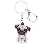Acrylic Cartoon Lovely Pug Dog Keychain Gift