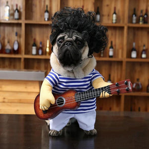 Pug Dog Guitar Rock Singer Outfit Clothing Funny Apparel