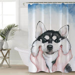 Husky Puppy Shower Curtain Watercolor Dog Polyester Waterproof With Hooks