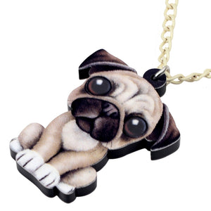 Sweet Sitting Pug Dog Necklace