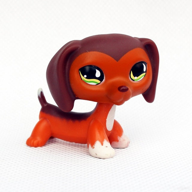 Rare Original Dog Collection Toy DACHSHUND Dog  Little Brown With Pink Heart
