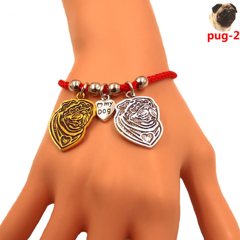 Pug Dog Couple Love Charm Rope Bracelet Heart 1+1 FREE