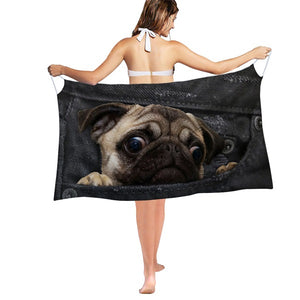 3D Black Denim Pocket Pug Woman Beach Scarf Dress Wrap Swimsuit Cover