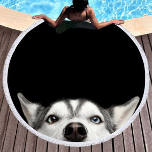 "Husky Large Round Beach Towel Microfiber 60"" 3d Dog Sunblock Blanket Black Yoga Mat With Tassels"