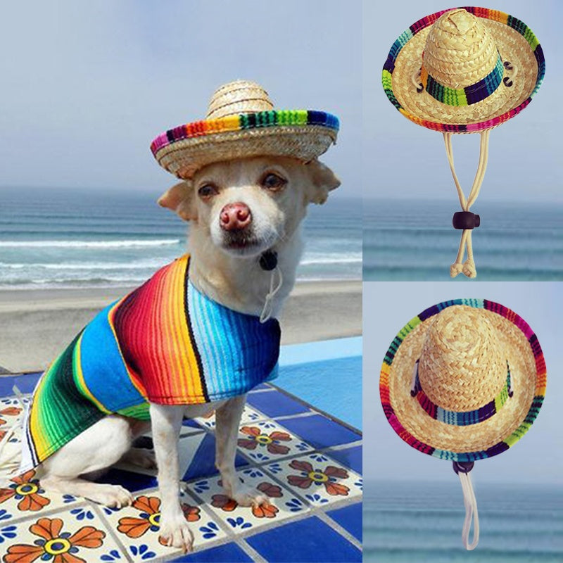 Dogs Sombrero Sun Hat Beach Party Straw Hats Mexican Style