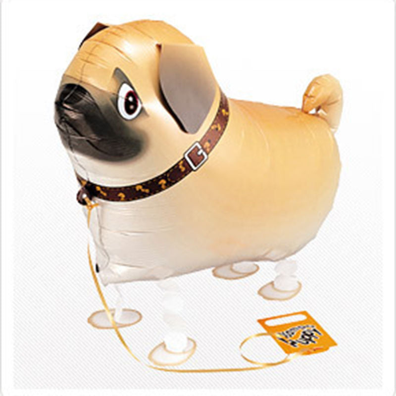 Lovely Children Walking Foil Pug Dog Helium Balloon 61x41cm