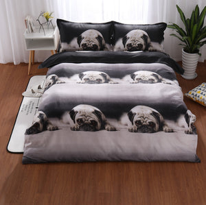Pug 3d Furry Arctic Doggies Bedding Set Gray King Size Duvet Cover