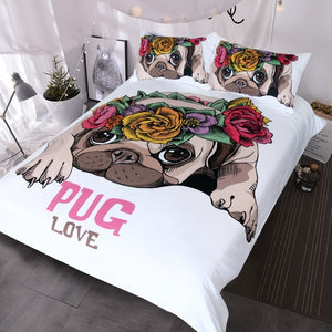 Bedding Set Love Pug Rose Bed Set Duvet Cover for Dog Lovers
