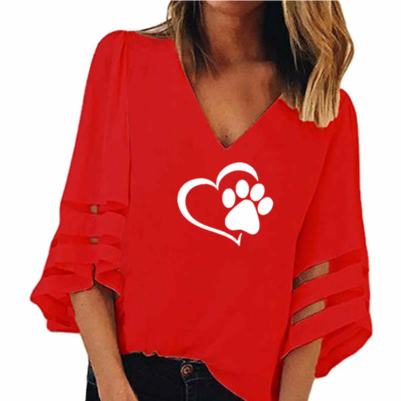 Fashion Dog Paw Print  Women Sexy V-neck T-Shirt  Half Sleeve
