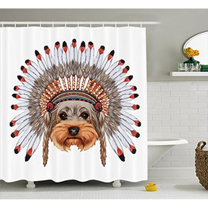 Shower Curtain Yorkshire Terrier in Bonnet Ethnic Culture