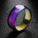 Cute Dog Paw Ring Jewelry  Stainless Steel Rainbow Ring Lover Gift