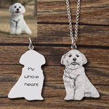 Custom Dog Photo Pendant Necklace Engraved Name 925 Sterling Silver