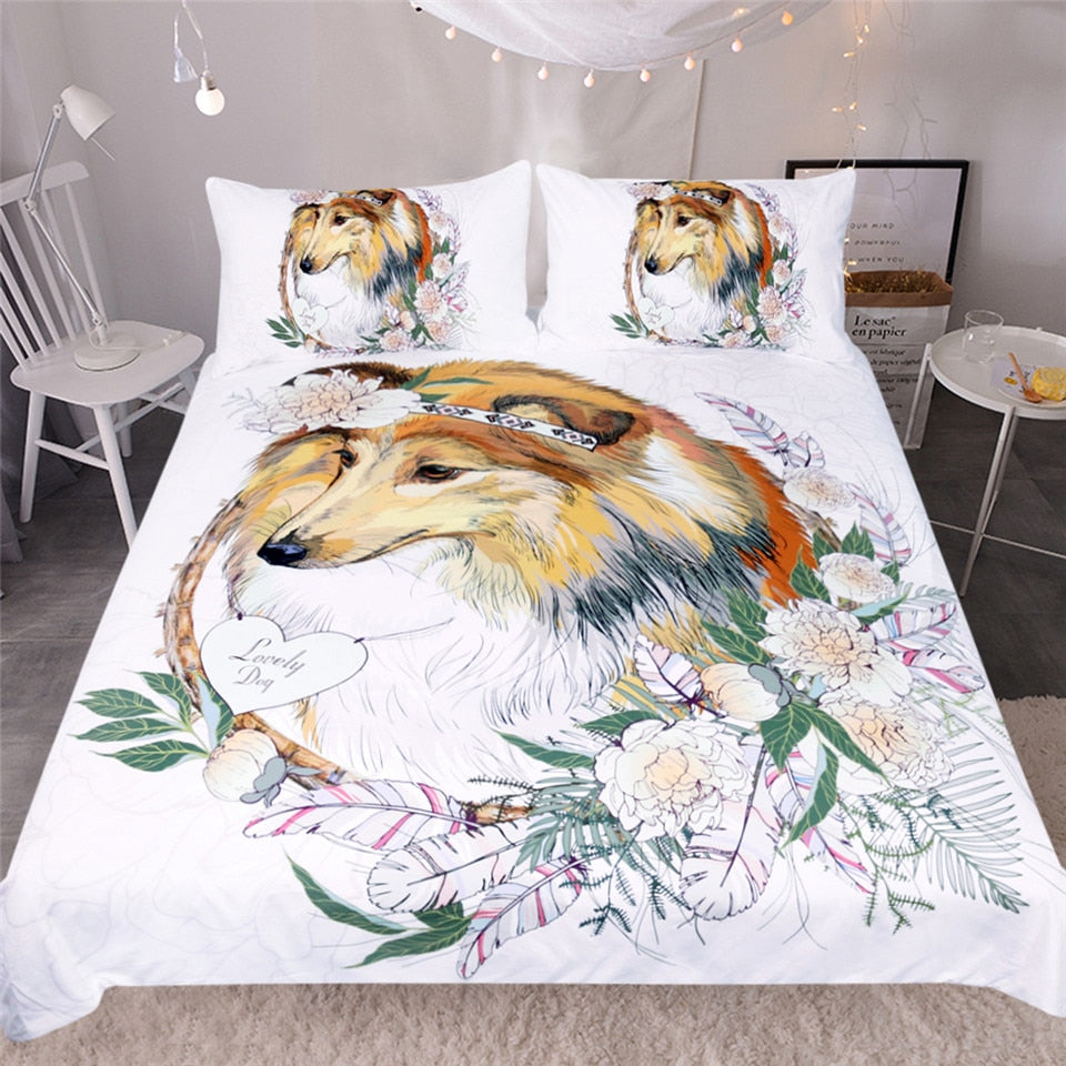 Sheepdog Bedding Set Collie Duvet Cover Set