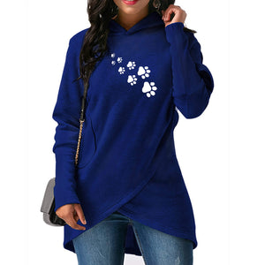 Dog Paws Print Hoodies Women Sweatshirts